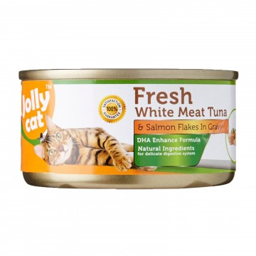 Jolly Cat Fresh White Meat Tuna And Salmon Flakes In Gravy 80g Carton (24 Cans)