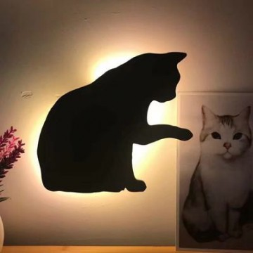 Lumewnous LED Cat With Raised Paw Shape Induction Night Light