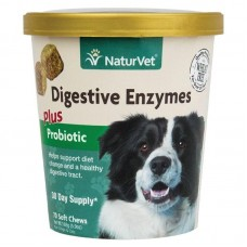NaturVet Digestive Enzymes Plus Probiotic for Cats and Dogs - 70 Soft Chews