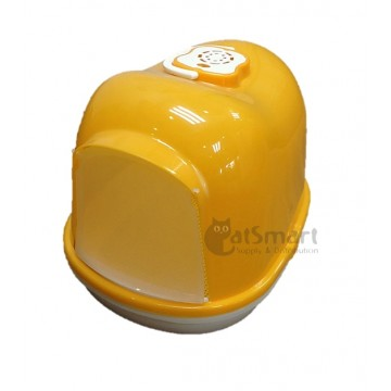 Cat Litter Box Closed With Mesh (L) Yellow
