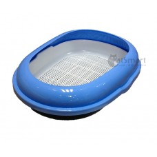 Cat Litter Pan Oval With Gridding Light Blue