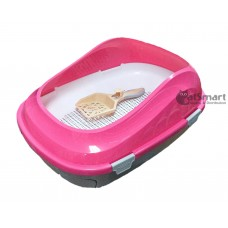 Cat Litter Pan With Drawer & Gridding Pink