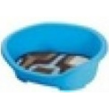 Plastic Pet Bed with Cushion Blue