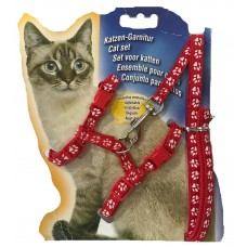 Cat Harness with Leash Design Paw Red