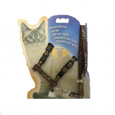 Cat Harness with Leash Design Doggy Brown