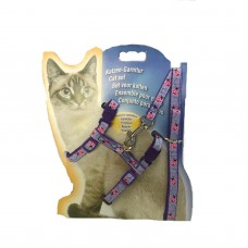 Cat Harness with Leash Design LadyBug Purple
