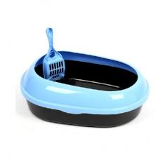 Cat Litter Pan Oval Light Blue & Black