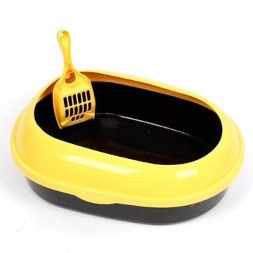 Cat Litter Pan Oval Yellow & Black