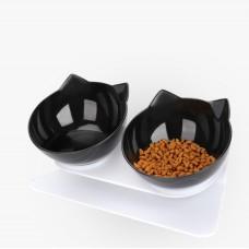 Plouffe Double Pet Neck-Care Black Bowl