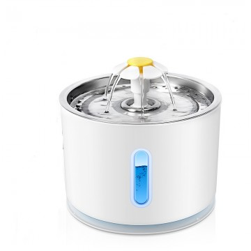 Rubeku Daisy Stainless Steel LED Pet Fountain 2.4L