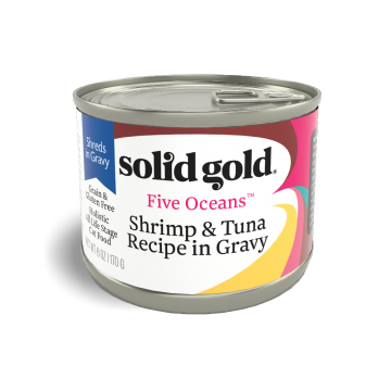 Solid Gold Five Oceans Shrimp & Tuna Recipe In Gravy 170g Carton (16 Cans)