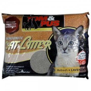 Tom And Pus Bentonite Cat Litter Lavendar 10L (3 Packs)
