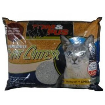Tom And Pus Bentonite Cat Litter Unscented 10L (3 Packs)