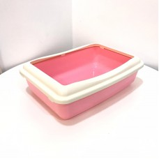 Cat Litter Pan Square Pink & White