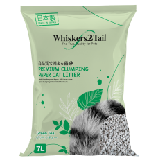 Whiskers2Tail Premium Clumping Paper Cat Litter Green Tea 7L (4 Packs)
