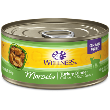 Wellness Grain Free Morsels Turkey Dinner 156g Carton (12 Cans)