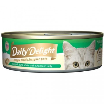 Daily Delight Jelly Skipjack Tuna White with Cheese 80g Carton (24 Cans)