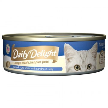 Daily Delight Jelly Skipjack Tuna White with Sardine 80g Carton (24 Cans)