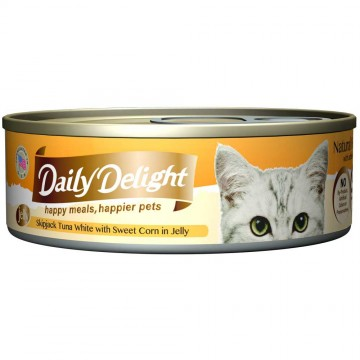 Daily Delight Jelly Skipjack Tuna White with Sweet Corn 80g Carton (24 Cans)