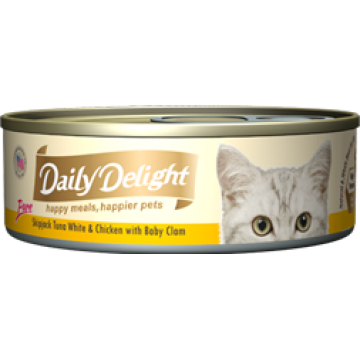 Daily Delight Pure Skipjack Tuna White & Chicken with Baby Clam 80g
