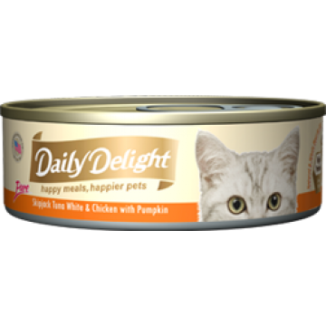 Daily Delight Pure Skipjack Tuna White & Chicken with Pumpkin 80g Carton (24 Cans)