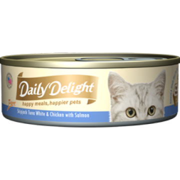 Daily Delight Pure Skipjack Tuna White & Chicken with Salmon 80g Carton (24 Cans)
