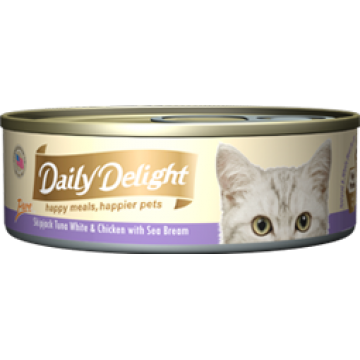 Daily Delight Pure Skipjack Tuna White & Chicken with Sea Bream 80g