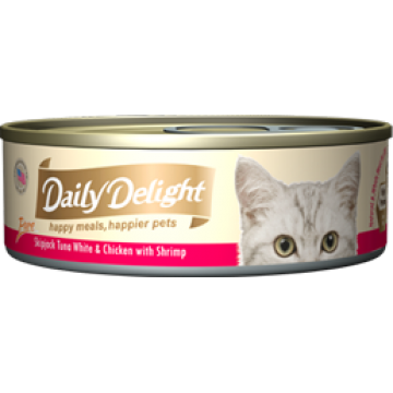 Daily Delight Pure Skipjack Tuna White & Chicken with Shrimp 80g Carton (24 Cans)