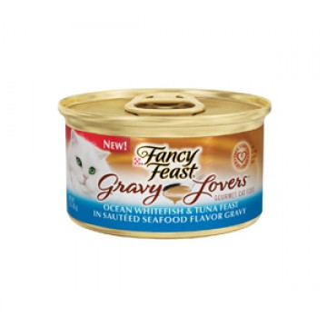 Fancy Feast Gravy Lovers Ocean Whitefish & Tuna Sauteed Seafood Flavor Gravy 85g Carton (24 Cans)