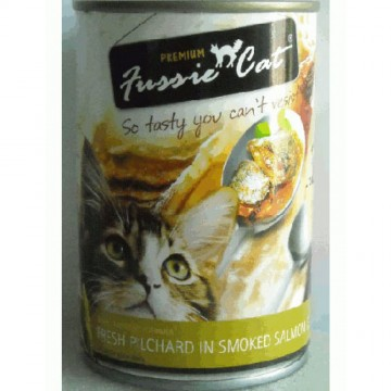 Fussie Cat Fresh Pilchard In Smoked Salmon Jelly 400g Carton (24 Cans)
