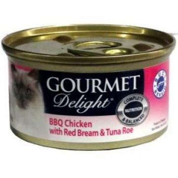 Gourmet Delight BBQ Chicken with Red Bream & Tuna Roe 85g  Carton (24 Cans)