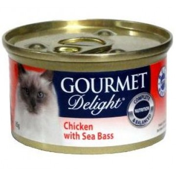 Gourmet Delight Chicken with Sea Bass 85g  Carton (24 Cans)