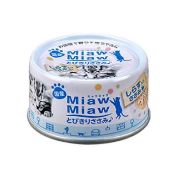 Aixia Miaw Miaw Chicken Fillet with Whitebait 60g Cartoon (24 Cans)