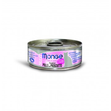 Monge Delicate Chicken with Ham 80g Carton (24 Cans)
