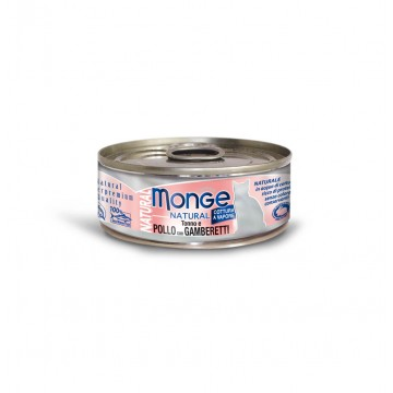 Monge Natural Tuna and Chicken with Shrimps 80g Carton (24 Cans)