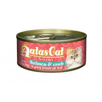 Aatas Cat Savory Salmon & Crab 80g Carton (24 Cans)