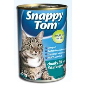 Snappy Tom Chunky Fish with Flaked Snapper 400g  Carton (24 Cans)