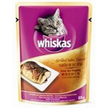 Whiskas Pouch Grilled Saba 85g Pack (24 Pouches)