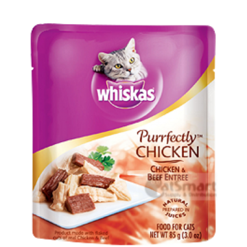 Whiskas Purrfectly Chicken & Beef Entree 85g (24 Packs)