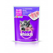 Whiskas Pouch Junior Mackerel 85g Pack (24 Pouches)